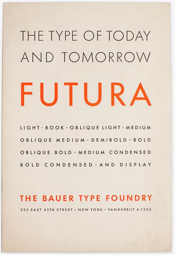 Futura the type of today and tomorrow
