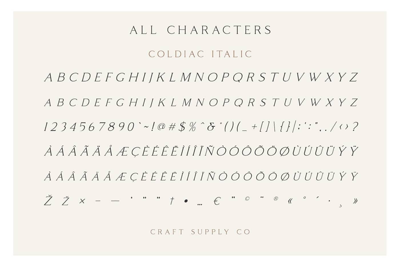 Free Font Friday Coldiac italic