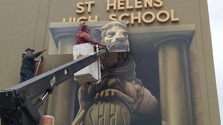 Installing mural