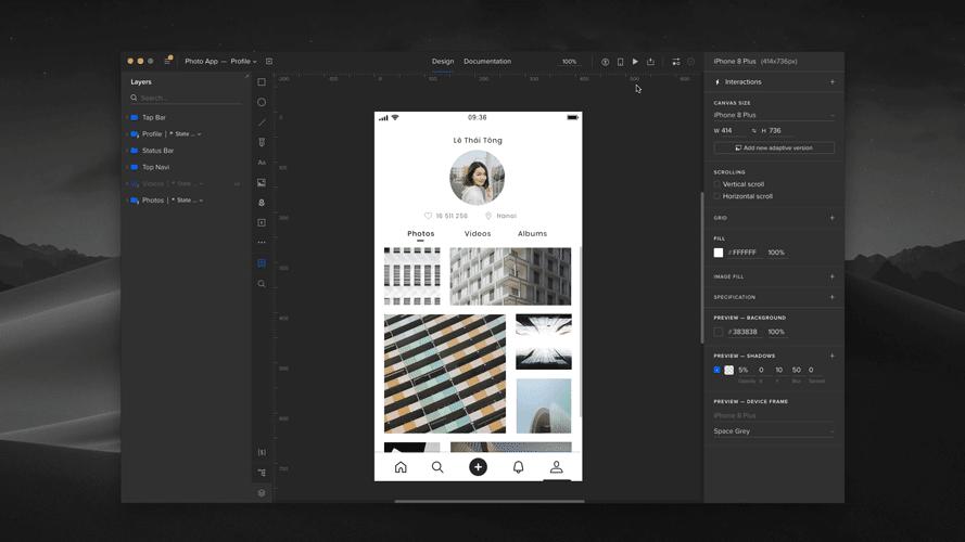 UXpin social app layout