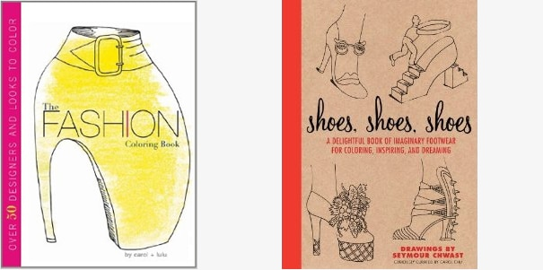 Fashion Coloring Book and Shoes, Shoes, Shoes, cover designs for two books by Carol Chu