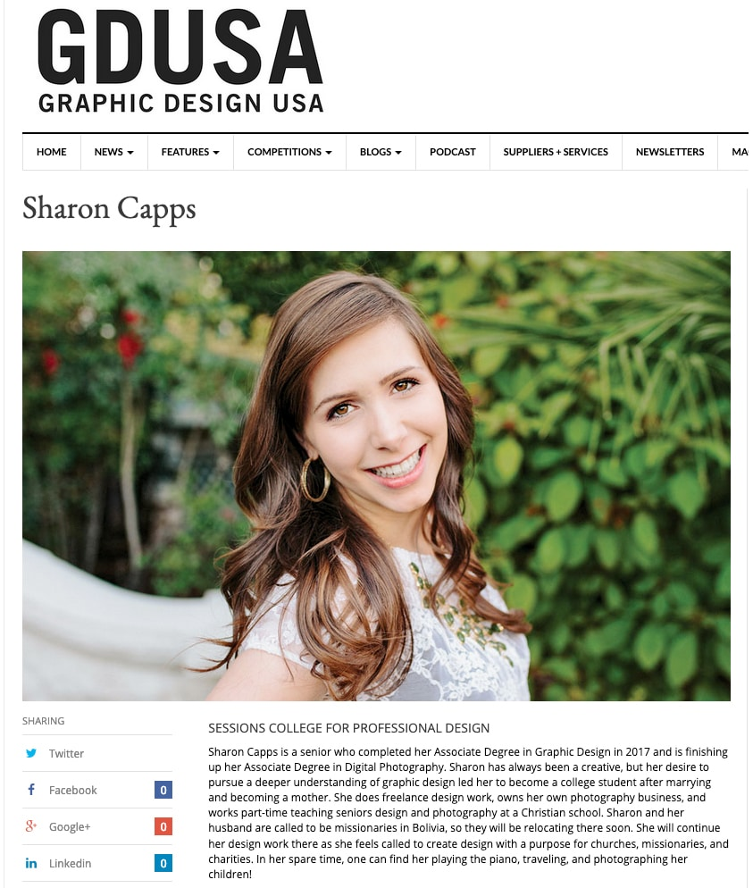 GDUSA Student to Watch recognition Sharon Capps
