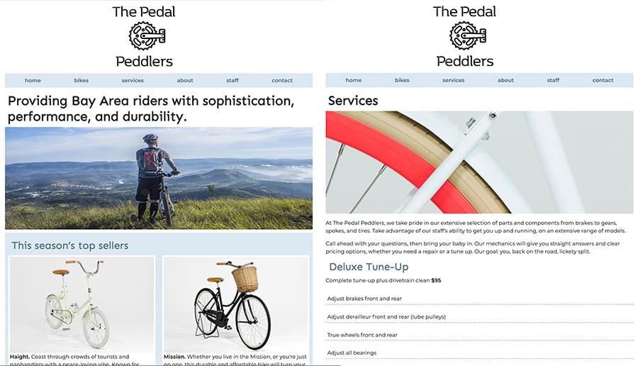 Benjamin Glinksy bike shop site design