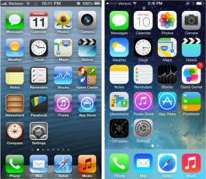 Left: iOS 6 interface. Right: iOS 7 interface.