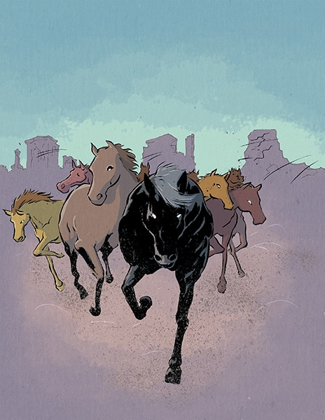 Horses illustration from Black Heroes of the Wild West - James Smith