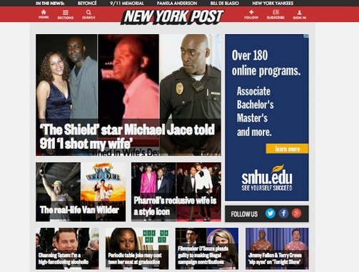 NY post site, example of WordPress site