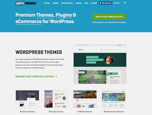 Woo Themes site, example of WordPress site