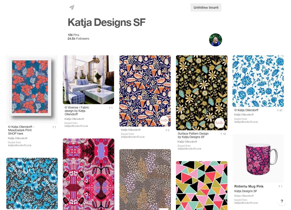 Designer Katja Ollendorf's board of her pattern design work at https://www.pinterest.com/katjao/katja-designs-sf/