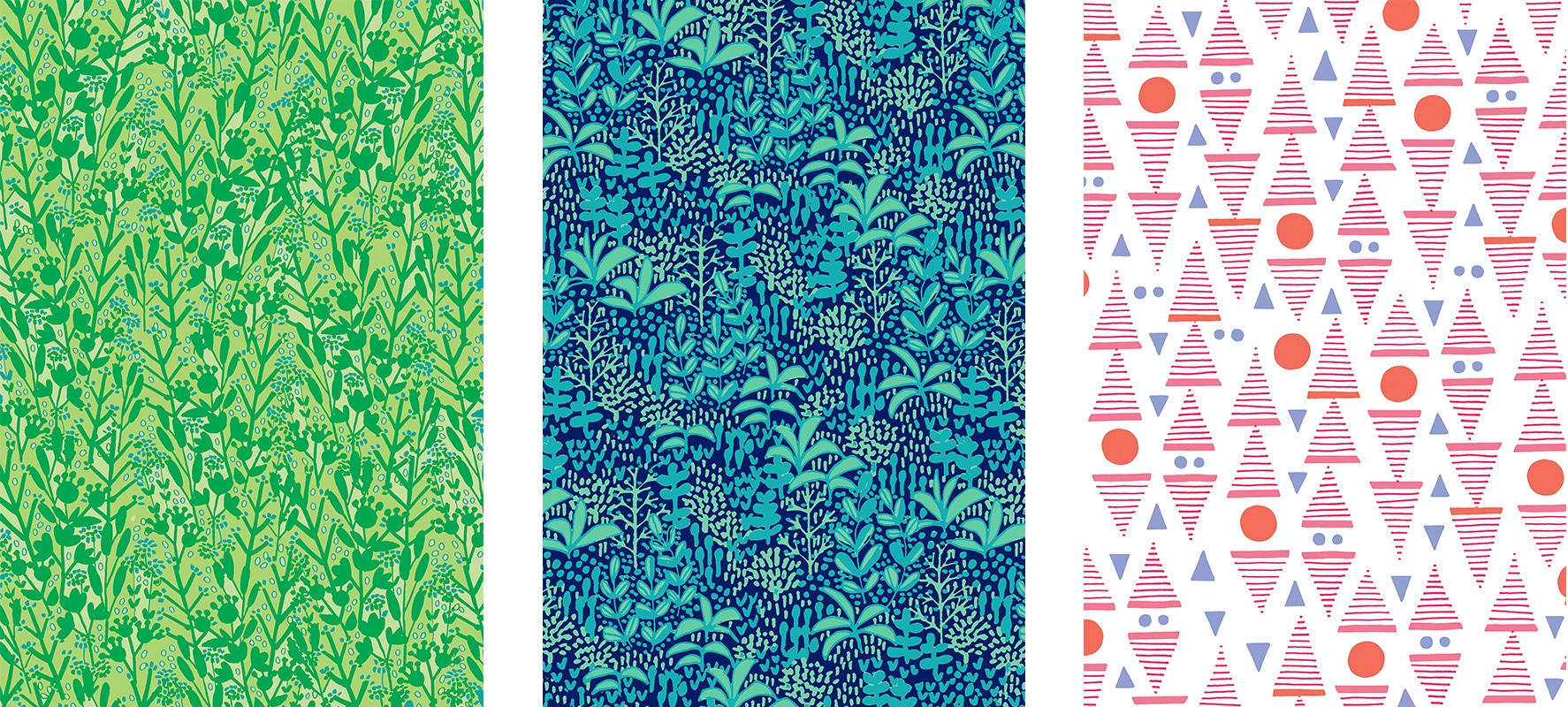 In the Field, Jungle Life and Mountains. Pattern design by Katja Ollendorff.
