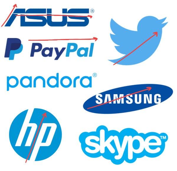 looking at logos leaning forward