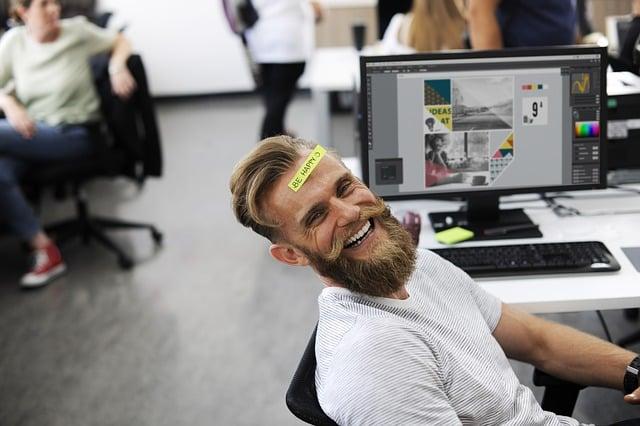 man having fun at work