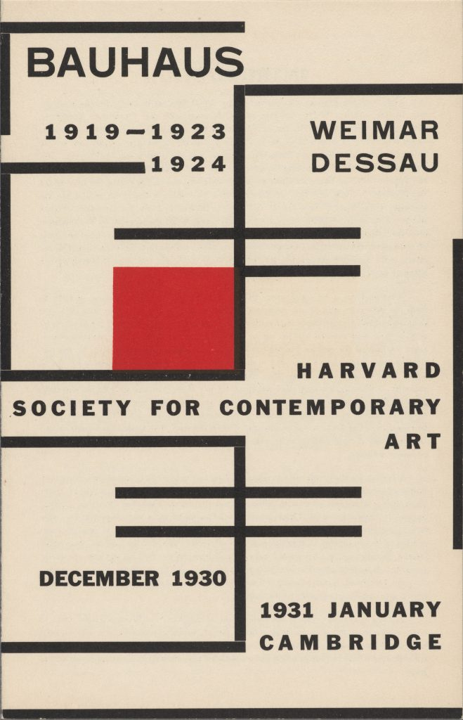 Catalogue of the 1930 Bauhaus exhibition, Harvard Society for Contemporary Art, Harvard University Archives, HUD 3298