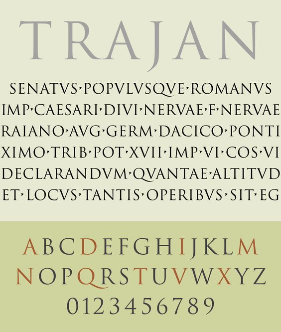 For This Weeks Type In History Lets Look At Trajan Is The Epitome Of A Classically Styled Typeface Design Inspired By Imperial Roman