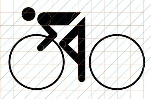 Grid-based geometric design of the cycling pictogram.