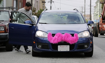 image of lyft car with mustache